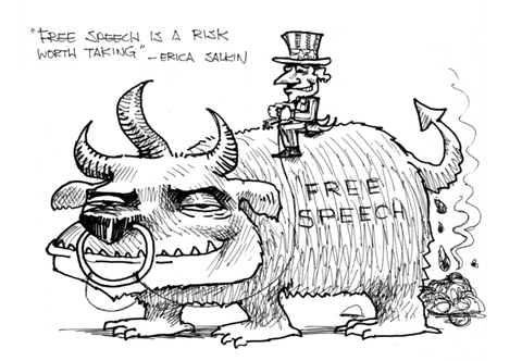 "Cartoon, ""Free speech is a risk worth taking"" - Erica Salkin"