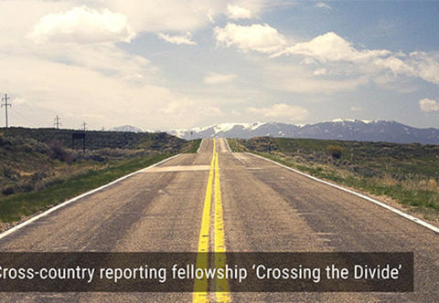 "Road with text overlay: Cross-country reporting fellowship ""Crossing the Divide"""
