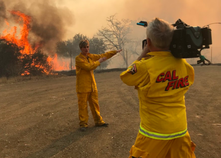 Jamie Yuccas covering the California wildfires for CBS News.